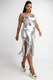 Plus Size Sleeveless sequins fringe dress.