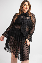 Plus Size Bow tie see through dot lace lovely dress.