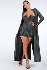 Trans sequins dress and cardigan set.