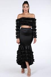 Ruffled detail off shoulder top & maxi skirt set.