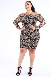 Plus Size Leopard mesh off shoulder dress.