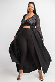 Plus Size Surplice lace top with maxi ruffle.