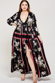 Plus Size Floral and contrast burgundy frame print black maxi dress.