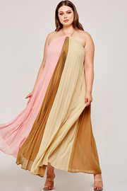 Plus Size Pink and taupe colorblock accordion pleated maxi dress.