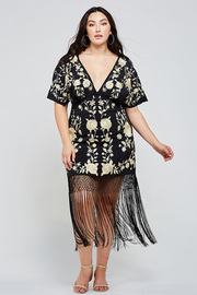 Plus Size Golden flower embroidery short dress.