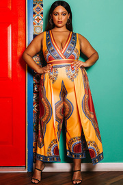 Plus Size Rust jumpsuit comes in a tribal print with contrast of blue.