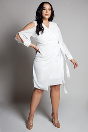 Plus Size Ivory surplice wrap dress.