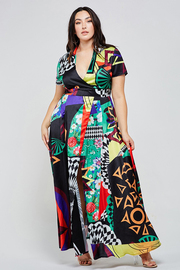 Plus Size Colorful abstract print on black maxi dress.