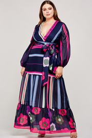 Plus Size Multi print floral maxi dress.