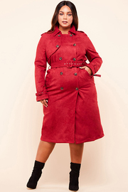 Plus Size A double breasted midi trench coat in a suede inspo fabrication.