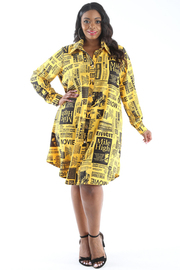 Plus Size Newspaper print long slv. Shirt dress.