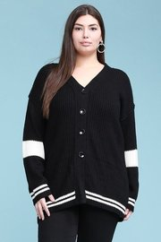 Plus Size Curvy sweater knit, varsity boyfriend cardigan, long tunic length and loose fit.