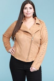 Plus Size suede biker jacket with studded sleeves.