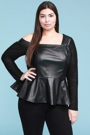 Plus Size Faux leather, asymmetrical peplum top with contrast mesh sleeves.