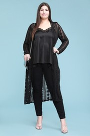 Plus Size Embroidered lace cardigan with crochet trimming. Duster midi length.