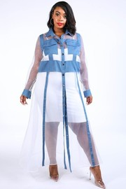 Plus Size Denim contrast mesh maxi dress shirt.