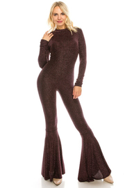 Long slv. Jumpsuit with back zipper.