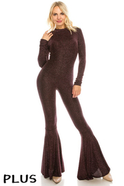 Plus Size Long slv. Jumpsuit with back zipper.