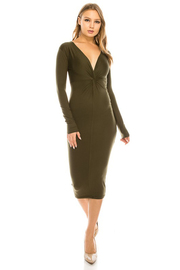 Deep v neck solid long slv. Dress.