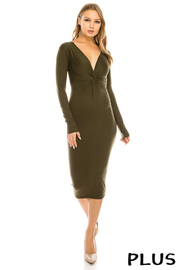 Plus Size Deep v neck solid long slv. Dress.