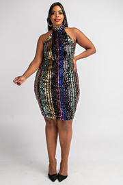 Plus Size Multi color sequins dress.