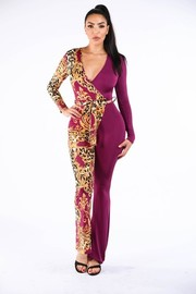 Leopard paisley printed color blocked jumpsuit.