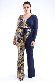 Plus Size Leopard paisley printed color blocked jumpsuit.