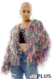 Plus Size Threaded tassels jacket.