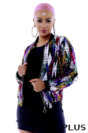 Plus Size Sequined Bomber jacket.