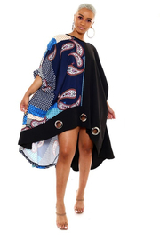 Printed Pancho style mini dress.