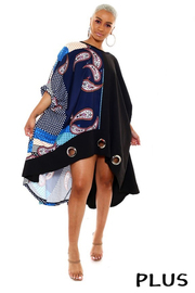 Plus Size Printed Pancho style mini dress.