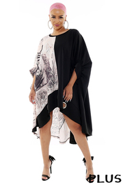 Plus Size Printed Pancho style mini dress.