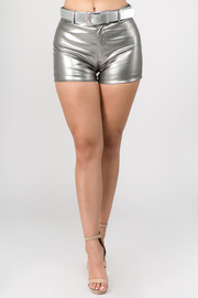 Pu Leather Shorts with Belt