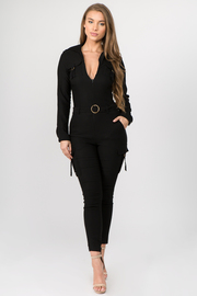 Long Sleeve Collared Jumpsuit with Waist Belt