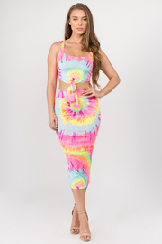 2 Piece set Tie Dye Tank top with Tie up Knot and Skirt