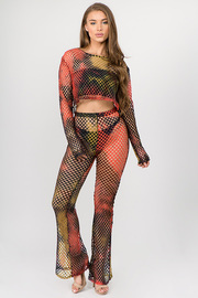 2 Piece Set FishNet Long Sleeve Top with Pants