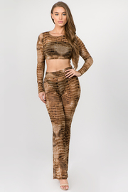2 Piece Set Mesh Long Sleeve Crop Top and Pants