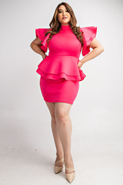 Plus Size Ruffle slv peplum dress.