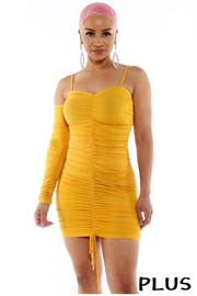 Plus Size Shirred Sleeveless Bodycon dress.