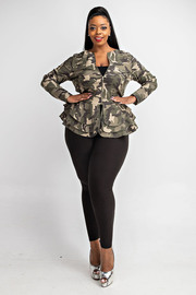 Plus Size Long slv multi layed peplum jacket.