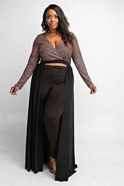 Plus Size Long slv sequins top with maxi flowy bottom.