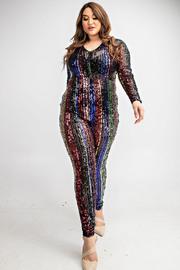 Plus Size Long slv rainbow sequins jumpsuit.