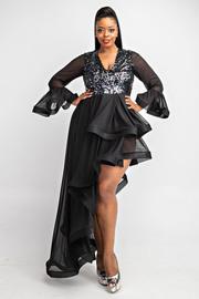 Plus Size Long slv asymmetrical sequins & mesh dress.