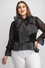Plus Size Long Slv blouse with bow tie neck.
