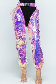Textured hologram pants.