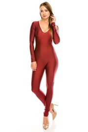 Nylon solid jumpsuit.