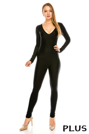 Plus Size Nylon solid jumpsuit.