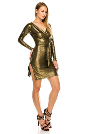 Shinny fabric V neck long sleeve mini dress.