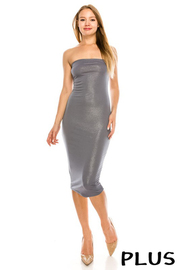 Plus Size Tube solid glitter dress.
