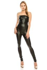 Faux leather tube jumpsuit.